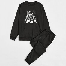 Sweatshirt mit Astronaut und Buchstaben Grafik und Jogginghose