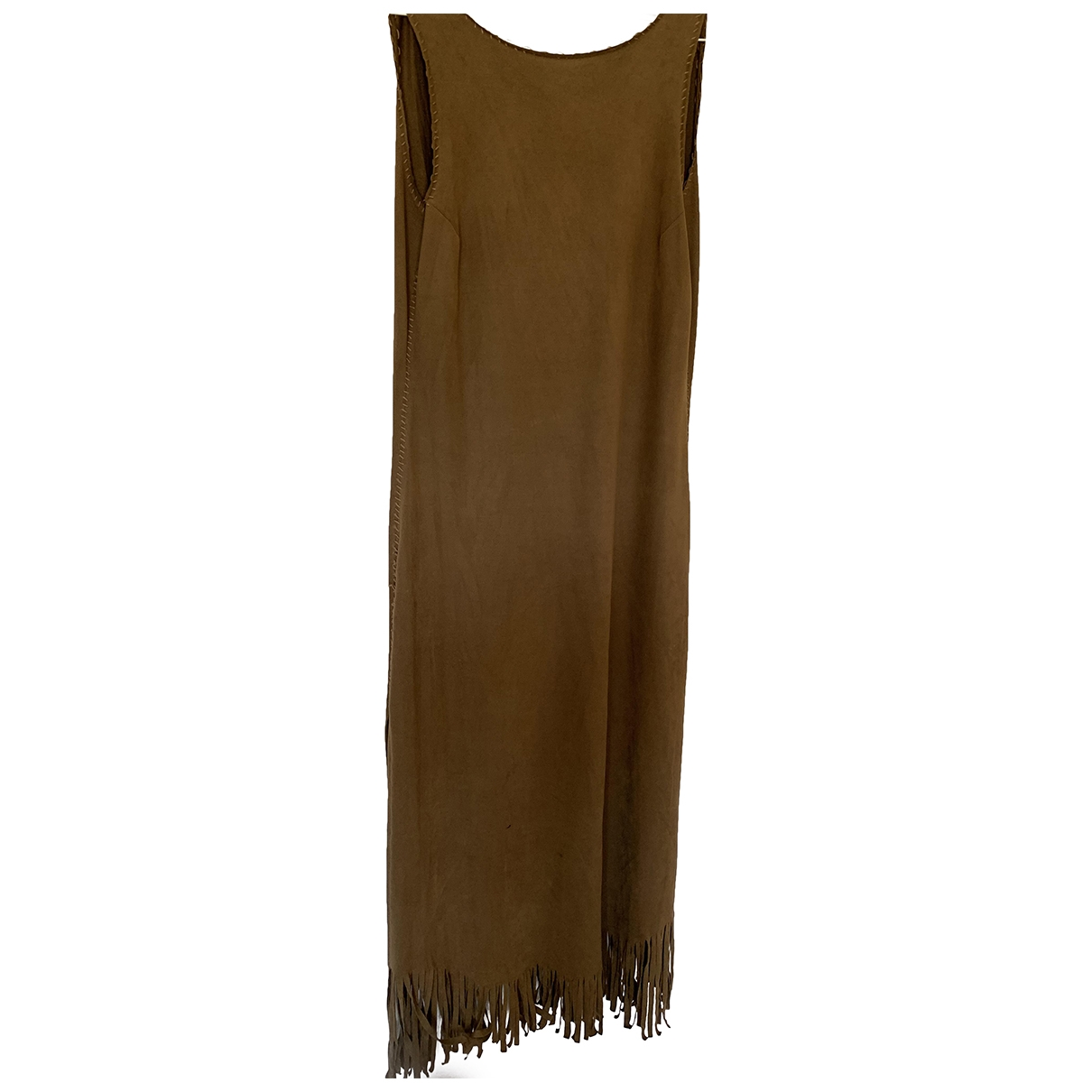 Non Signé / Unsigned Hippie Chic Brown Leather dress for Women S International