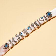 13pcs Floral & Rhinestone Ring