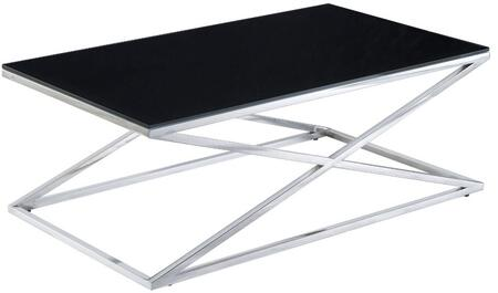 Excel Collection 20804-01-BL 48 Cocktail Table with X Base Design  Contemporary Style  Polished Stainless Steel Base and Rectangular Shaped Glass