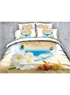 3D Starfish and White Flowers Printed Cotton 4-Piece Bedding Sets/Duvet Covers