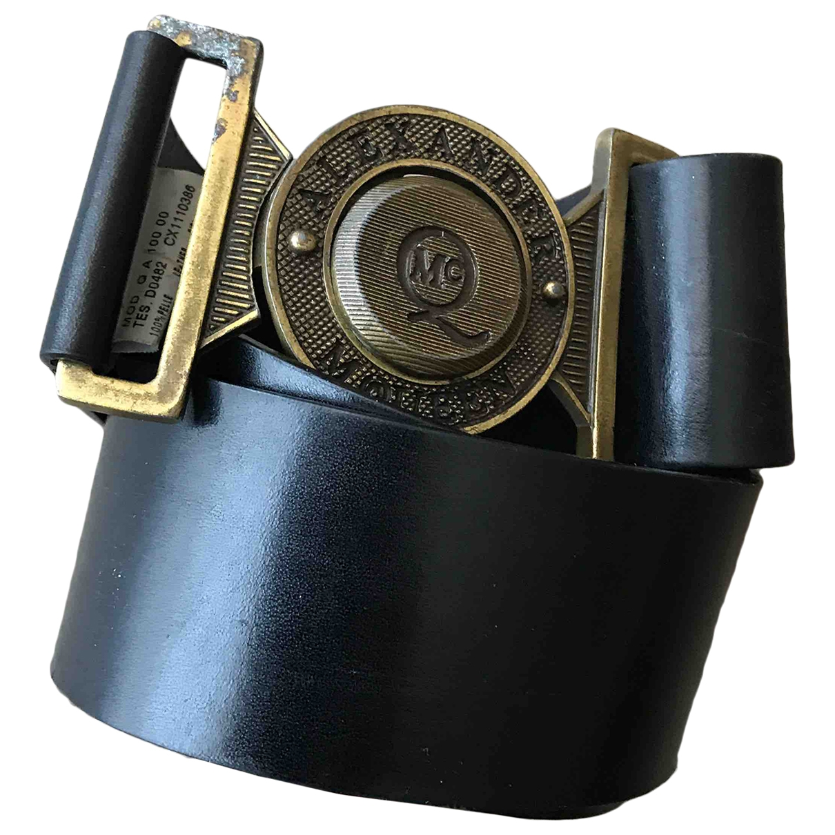 Mcq \N Black Leather belt for Women 90 cm