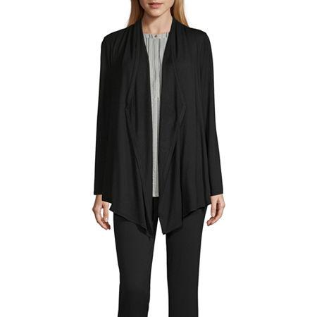 Liz Claiborne Studio Womens Long Sleeve Cardigan, Small , Black