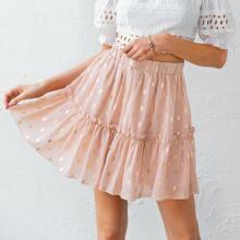 Frill Trim Metallic Dot Skirt