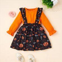 2 In 1 Kleid mit Halloween Muster und Rueschenbesatz
