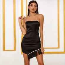 DKRX Satin Kleid mit Fransen