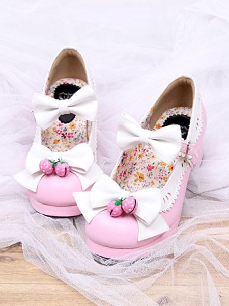 Milanoo Rosa Lolita zapatos fresa arco PU para mujeres