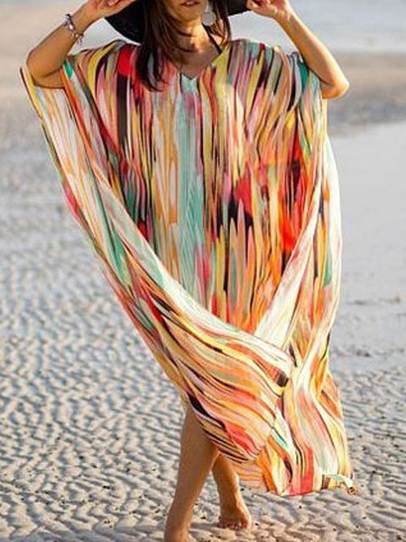 Milanoo Cover Up For Woman Chiffon Stripes Oversized Split Front Jewel Neck Summer Beach Cover Up