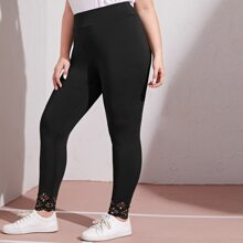 Plus Laser Cut Hem Leggings