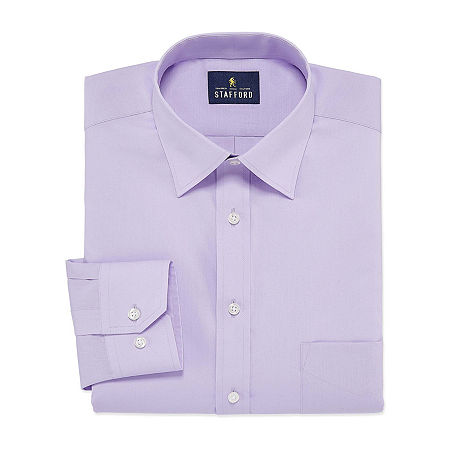 Stafford Mens Travel Easy-Care Broadcloth Stretch Fitted Dress Shirt, 15.5 32-33, Purple