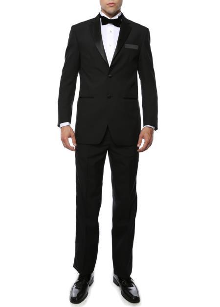 Men's Black Satin Notch Lapel 2Piece Polyester Fully Lined Tuxedo Suit