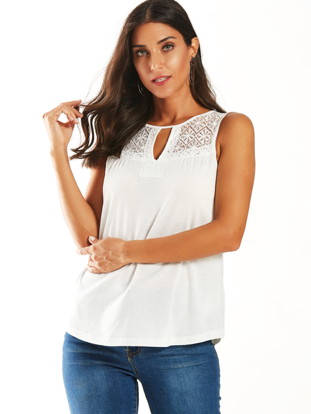 YOINS White Lace Patchwork Cut Out Round Neck Tank Top