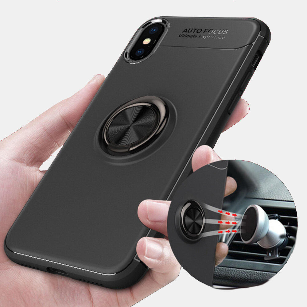 Multifunction Magnet Phone Case Full Body Slim Protective Cover Holder Finger Ring Decompression Fun