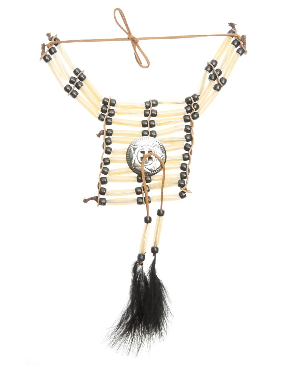 Kostuemzubehor Halskette Indianer schwarz/ecru