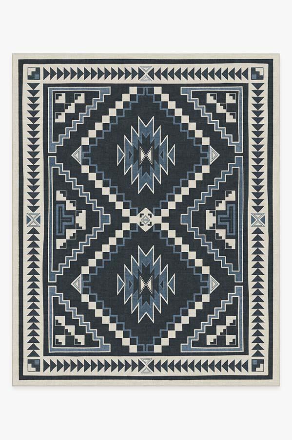 Washable Rug Cover | Dakotah Ivory Blue Rug | Stain-Resistant | Ruggable | 8'x10'