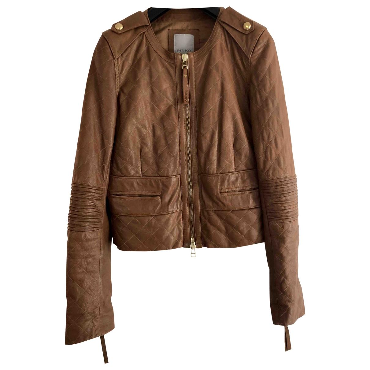 Pinko \N Camel Leather jacket for Women 44 IT