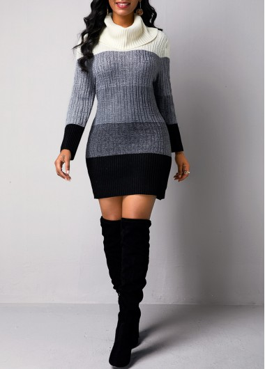Women'S Color Block Turtleneck Long Sleeve Sweater Cocktail Party Dress Sheath Sexy Club Bodycon Mini Sweater Dress By Rosewe - XXL