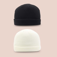 2pcs Simple Solid Beanie