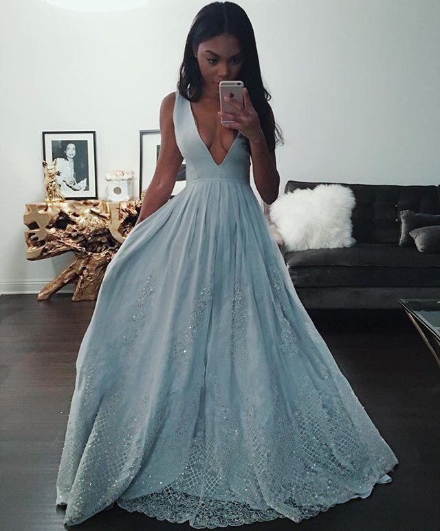 Wunderschone Blaue Spitze Abendkleider | Sexy Festkleider Tief V-Ausschnitt