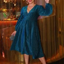 Kleid mit Laternenaermeln und Glitzer