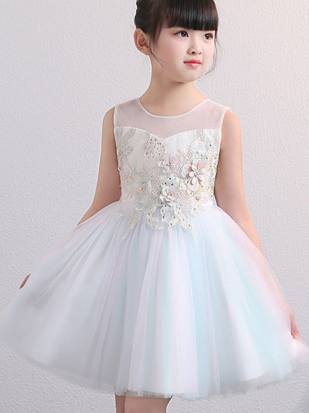 Milanoo Flower Girl Dresses Jewel Neck Sleeveless Embroidered Kids Party Dresses