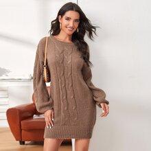 Strick Pulloverkkleid mit sehr tief angesetzter Schulterpartie