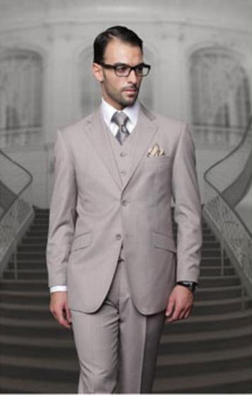 Statement Men's Tan 2 Button Modern Fit Wool Suit