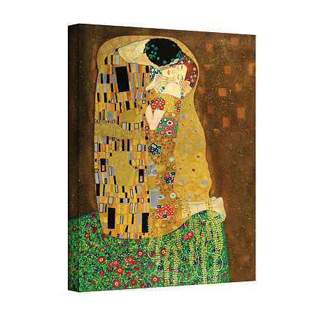 Brushstone The Kiss By Gustav Klimt Gallery Wrapped Canvas Wall Art, One Size , Brown