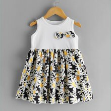 Toddler Girls Daisy Floral Bow Front Layered Dress