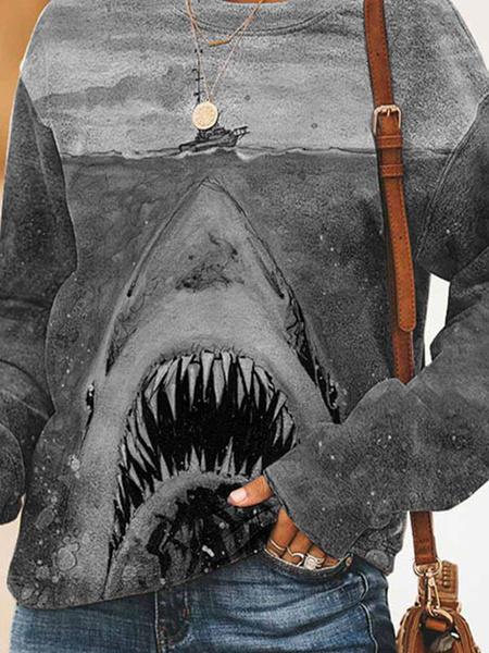 Milanoo Hoodie For Woman Grey Long Sleeves Printed Polyester Shark Print Hooded Sweatshirt