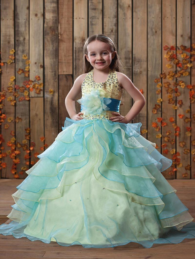 Ericdress Ball Gown Halter Beading Tiered Flower Girl Dress