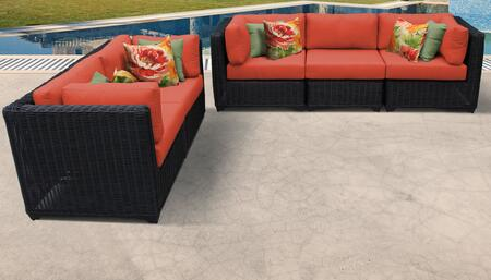 Venice Collection VENICE-05b-TANGERINE 5-Piece Patio Set 05b with 4 Corner Chair   1 Armless Chair - Wheat and Tangerine