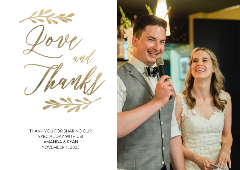 Wedding Thank You 5x7 Cards, Premium Cardstock 120lb with Scalloped Corners, Card & Stationery -Wedding Thank You Gold Leaves by Tumbalina