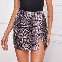 Falda mini bajo con abertura con estampado de piel de serpiente