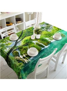 Natural Waterfall in the Forest Scenery Prints Washable 3D Tablecloth