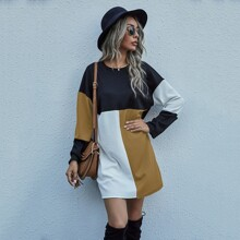 Colorblock Drop Shoulder Tee Dress