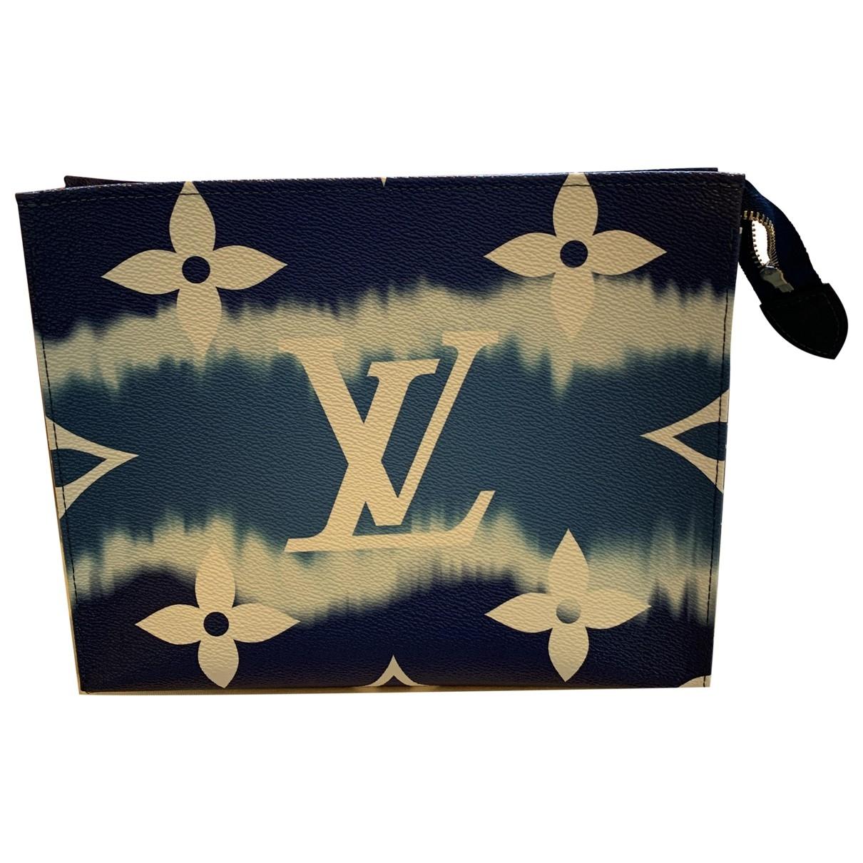 Louis Vuitton Poche toilette Reisetasche in  Blau Leinen