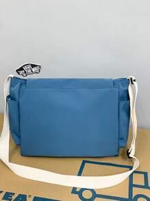 Men Letter Graphic Pocket Front Crossbody Bag