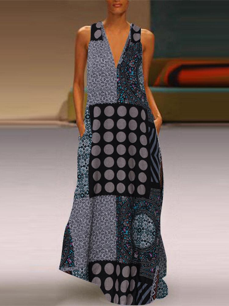 Vintage Polka Dot Print Sleeveless Plus Size Maxi Dress