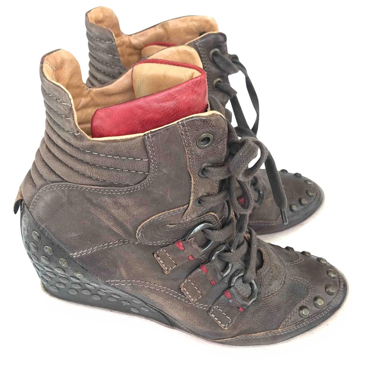 A.s.98 - Boots   pour femme en cuir - kaki