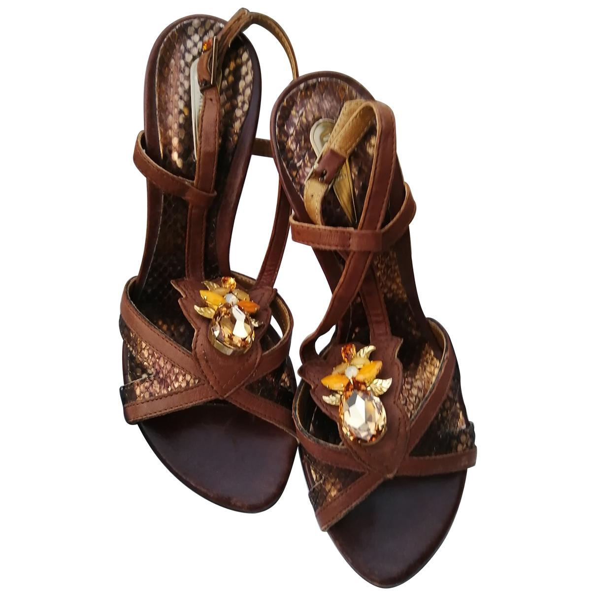 Vic Matie - Sandales   pour femme en cuir - dore