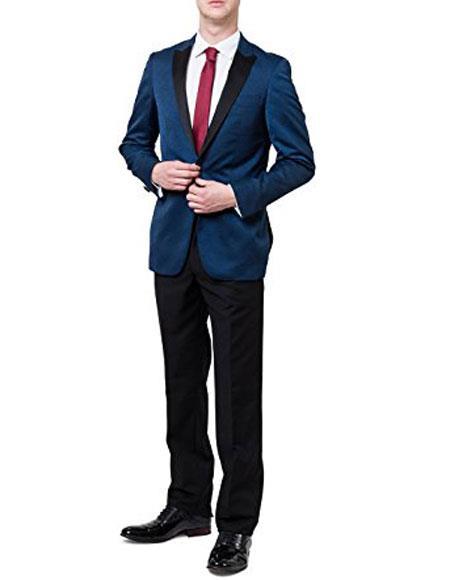Men's 2Toned Peak Lapel Regular Fit 2 Piece Blue Tuxedo Suit Black