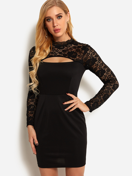 Yoins Black Cut Out See Through Lace Insert  Plain Crew Neck Long Sleeves Dress