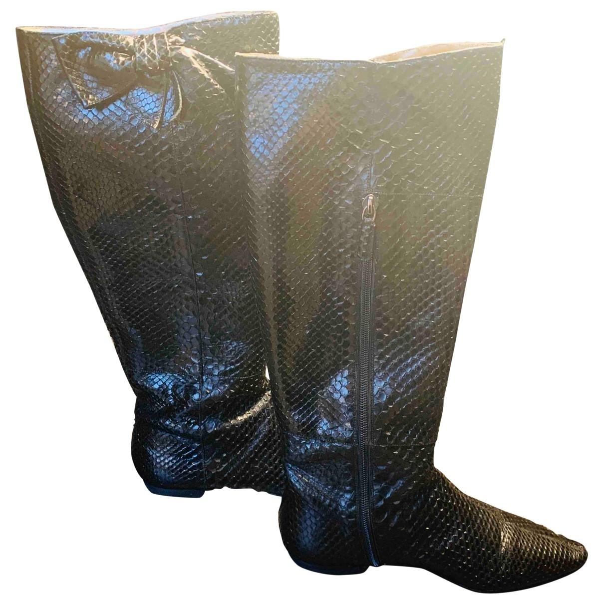 Valentino Garavani - Bottes   pour femme en python - noir