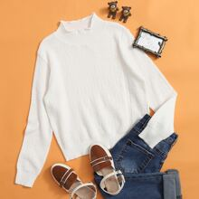 Girls Solid Stand Collar Sweater