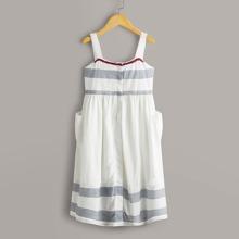 Maedchen Cami Kleid mit zufaelligem Streifen Muster und Farbblock