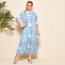 Plus Tie Dye Print Flounce Sleeve Tunic Dress