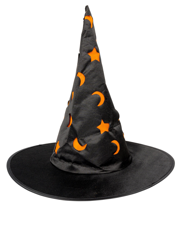 Kostuemzubehor Hexenhut schwarz mit Mond und Sternen orange