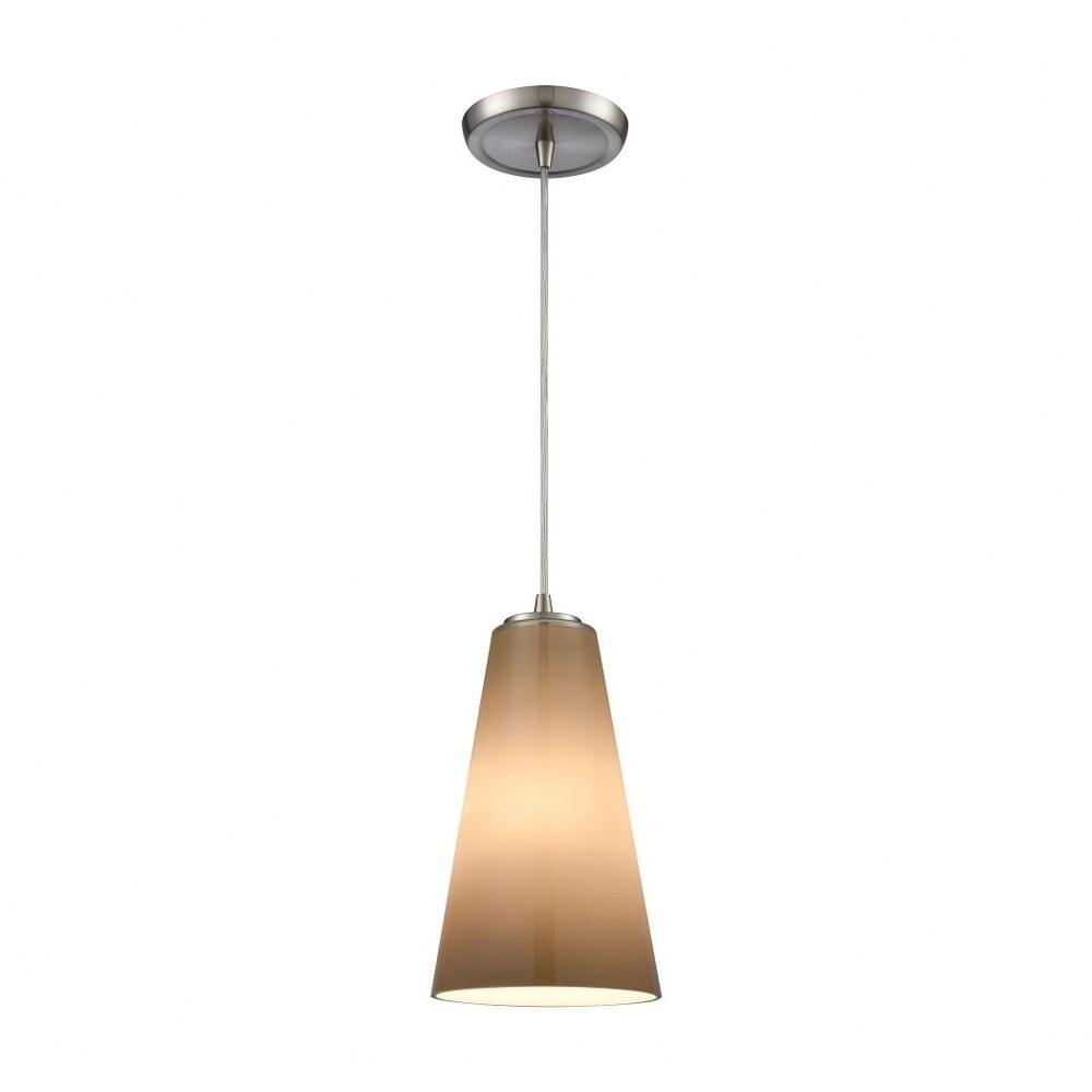 Satin Nickel 1-Light Mini Pendant With Peach Grey-Plated Blown Glass -Art Deco Style Pendant Light - (Satin Nickel)