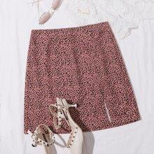 Split Hem Dalmatian Print Skirt